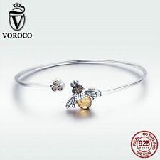 Voroco Real 925 Sterling Silver Open Bracelet Bangle Bee Charm Women CZ Jewelry