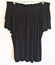 INC International Concept NEW Off Shoulder Top Tier Ruffle Sleeve Black XXL