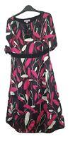 Monsoon Women's Size 12  Dress black and pink 100% silk