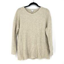 J. Jill Pure Jill Women's Sz M Scoop Neck Pullover Sweater Beige Tan Fuzzy Knit