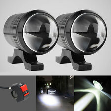 CREE U1 Motorcycle Headlight Lens LED Driving Fog Light Spot Lamp x2+Free Switch