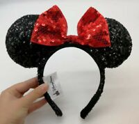 Disney Minnie Mouse Classic Sequin Red Bow Black Color Changing Ear Headband