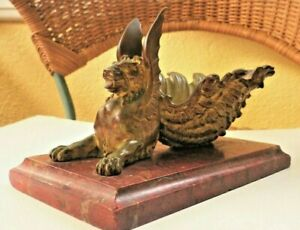 Antique Bronze Winged Griffin Upturned Shell Mythical Creature Red Marble base