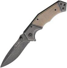 "Folding Pocket Knife | Rough Rider 3.5"" Gray Stone Blade Tan G10 Handle Tactical"