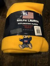 New Polo Ralph Lauren Blanket Fleece Yellow Embroidered Teddy Bear Throw 50x68