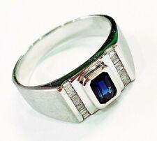 18K White Gold Blue Sapphire(Corundum) Diamond Ring[Cert] 7.06 Grams /HK Size 24