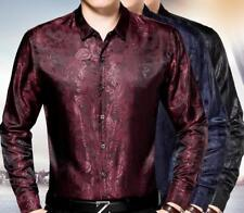 Men Print Satin Silk Slim Fit Business Casual Dress Shirts Long Sleeve Tops Chic