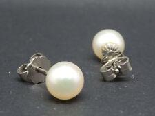 Pendientes en 585 / 14k Oro Blanco con Akoya perlas de cultivo perlohrstecker