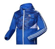 Adidas Colorado Windbreaker Hooded Jacket Blue/White Uk M