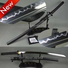 T1095 Steel Sword Clay Tempered Samurai Katana Blade Very Sharp Replace Fitting