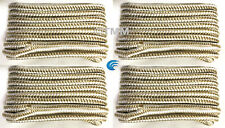 "(4) Gold/White Double Braided 1/2"" x 15' HQ Boat Marine DOCK LINES Mooring Ropes"