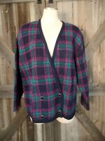 PENDLETON Vintage 100% Wool Plaid Cardigan Sweater Size L