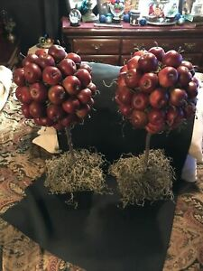 Pair Of Red Apple Topiaries Trees Almost 2 Feet Each!