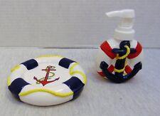 LaMont Bath Set Soap Dish and Dispenser Regatta Anchor Lifebuoy