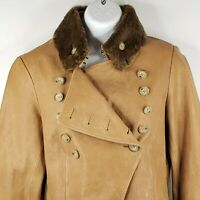Calvin Klein Camel Beige Double Breasted Leather Coat Faux Fur Collar Size 6