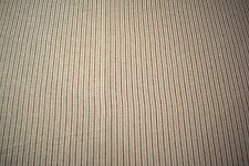 """Striped Leaf Green Red 100% Flax Linen Fabric 56""""W Upholstery BTY Natural Fiber"""