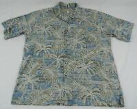 Tori Richard Hawaiian Button Up Shirt Blues XL Palm Trees Tropical Cotton Lawn