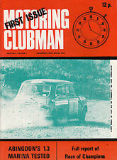 MOTORING CLUBMAN FIRST ISSUE, No.1 VOL.1, 29TH MARCH 1972 MAGAZINE.