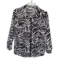 Zenergy By Chicos Womens Jacket Coat Black Zebra Print Zip Stretch M 8/10 NWOT