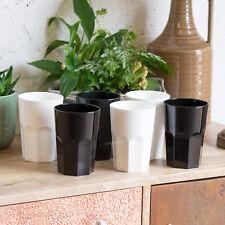 8 x 35cl White Black Reusable Plastic Drinking Glasses Hi-Ball Tumblers Bar Cup