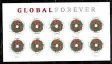 2013 #4814 Global Holiday Evergreen Wreath Pane of 10 Without Die Cuts Mnh