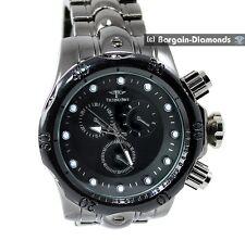 mens big heavy black sports dress watch gator scute bracelet black dial designer