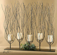 "NEW LARGE 31"" BROWN BEADED CANDELABRA PILLAR CANDLE HOLDER CANDLES INCLUDED"