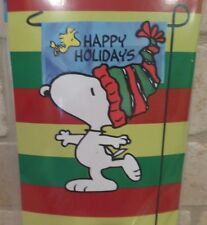 "Peanuts Snoopy & Woodstock Christmas Happy Holidays Garden Flag 12""X19""-NIP"