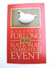 Margaret Furlong Nesting Quail Pin 1999 Bisque Porcelain On Card Tie Tack