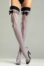 Sheer Nylon Stockings  Sheer Nylon Stockings with Black Opaque Vertical Stripes