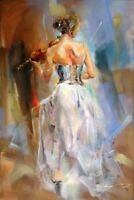CHOP272 modern decor art hand-painted oil painting on canvas:violin girl