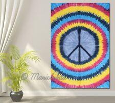 Twin Size Peace Sign Multi Tie- Dye Wall Hanging Mandala Tapestry Bohemian Decor