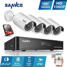 SANNCE 4CH PoE 4x1080P NVR Kit Network HD IP Système de Caméra Surveillance 1TB
