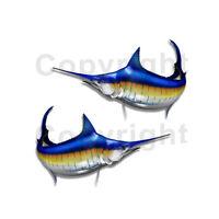 "Blue Marlin Sticker Decal Fishing Boat RV Truck Camper Trailer F004 2Pack 9""-12"""