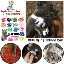 Pet Cat Nail Caps Tips Kitty Soft Claw Covers Control Protector Paws 100 Pcs New