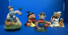 Halloween figures, scarecrow candle topper, mouse w/pumpkins, bear witch & ghost