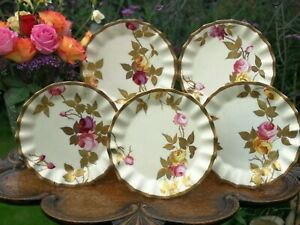 Finest Quality Antique BODLEY Raised Gold Rose Plates and Tazza c1880s- SET A