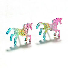 1Pair Cute Metal Unicorn Stud Earrings Glitter Rainbow Colourful Girls Gift NEW