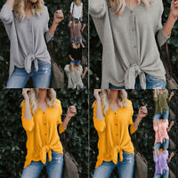Womens Loose Knit Tunic Blouse Solid Tie Knot Henley Tops Bat Wing Plain Shirts