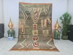 "Vintage Moroccan Boujaad Handmade Rug 5'3""x8'4"" Berber Abstract Green White  Rug"