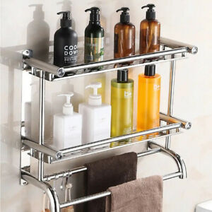 1-3 Tier Wall Mounted Towel Rack Chrome Holder Bathroom Stainless Steel Shelf