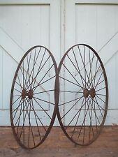 """Antique 28"""" pair IRON WHEELS industrial - steampunk SALVAGED modern design PARTS"""