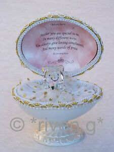 MOTHER@Unique@Faberge-Based Design@22kt@MOTHERS DAY Gift@Glass with Love Verse