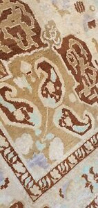 Exquisite Antique Cr1950-1959s Muted Natural Dye Wool Pile Oushak Rug 6x10ft