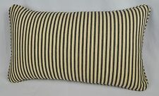 Pillow made w Ralph Lauren Cold Spring Black & Cream Ticking Fabric self cording
