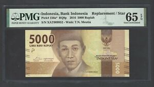 Indonesia 5000 Rupiah 2016 P156a* Replacement Uncirculated Grade 65