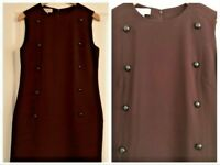Hobbs Chocolate Brown Shift Dress Size 12 Buttons Office Career Smart S/less
