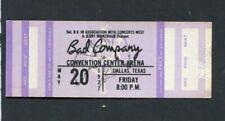 1977 Bad Company Dave Edmunds Rockpile Unused Concert Ticket Dallas Burnin' Sky