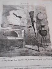 Caricature 1869 Le Chassepot se mettant lui aussi a faire des crêpes
