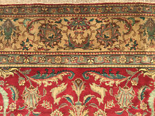 8x12 ANTIQUE PERSIAN TABRIZ RUG HAND KNOTTED WOVEN IRAN RED WOOL RUGS 8x11 9x12